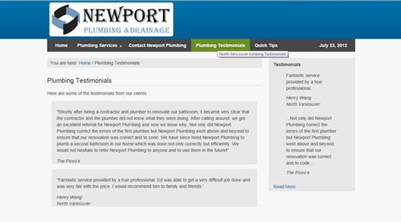 Website Design for Newport-Plumbing-North-Vancouver-Testimonials Page