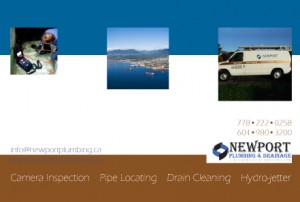Postcard-design-for-plumbing-company-showing logo, contact info and pics of services
