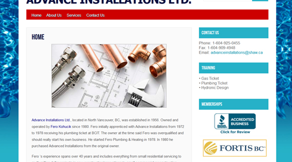 Website Design for a Plumbing company in Vancouver BC